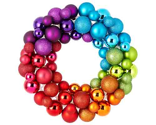 Rainbow Bauble Wreath