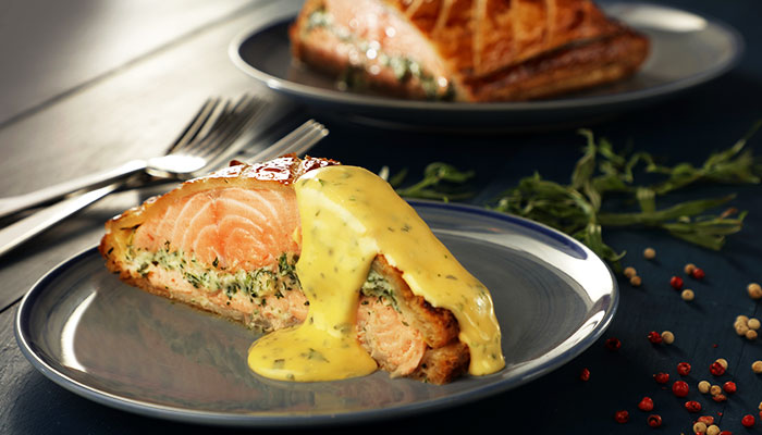 FISH COURSE: SOCIABLE SALMON EN CROUTE