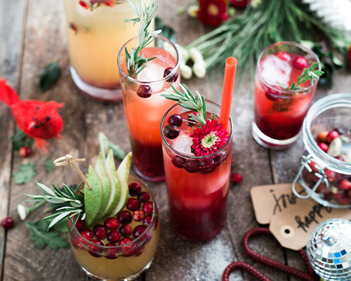 A variety of Christmas cocktails.