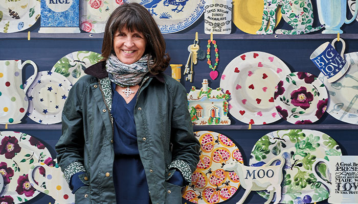 Emma Bridgewater standing by her collection.