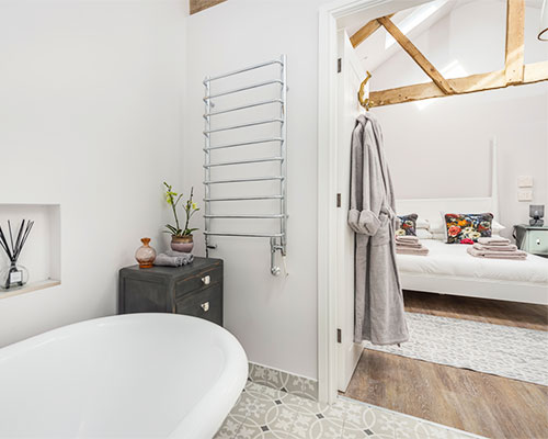 Grey Hens Cottage bathroom and bedroom