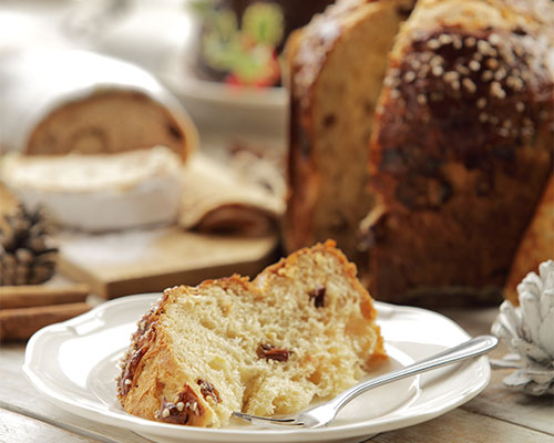 A beautifully presented slice of panettone.