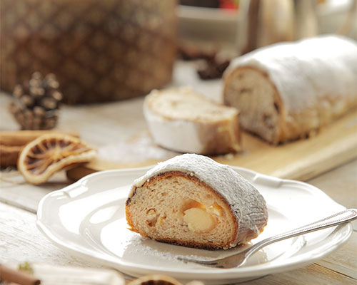 A perfectly sliced piece of stollen.
