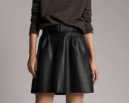 Leather skirt.