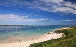 White sand beach, blue ocean and added greenery