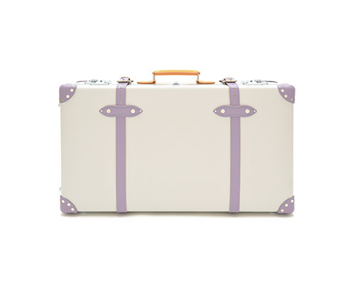 Lilac and white suitcase