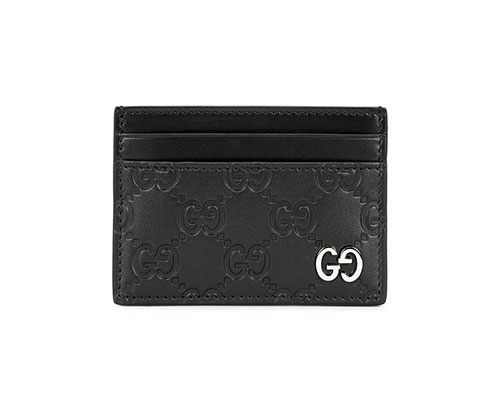 Gucci black leather card holder