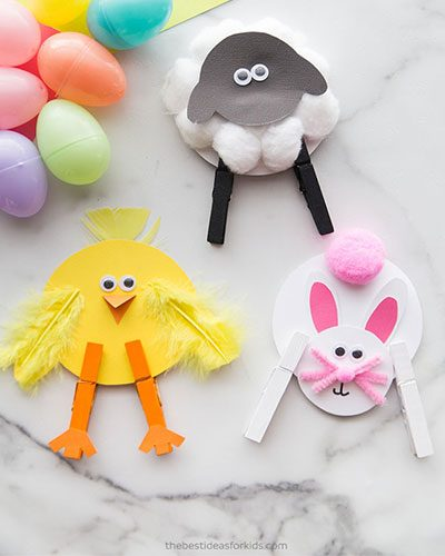 Easter Crafts: Clothespin-Animals