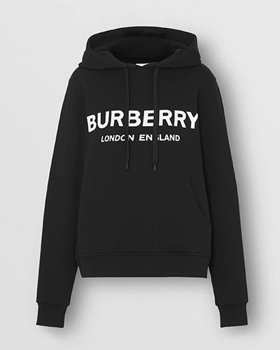 Burberry, Logo Print Cotton Oversized Hoodie